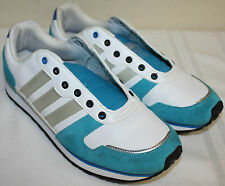 Womens Ladies Adidas White Gray Blue Walking Leather Suede Sneakers Shoes Size 6