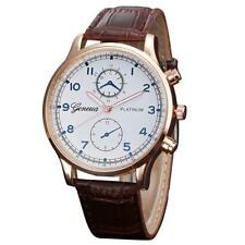 Gents Retro Brown Faux Leather Blue Numbers Wrist Watch Optional Gift Box #GB1
