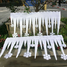 2pcs Christmas White Snowflake Ice Strip Xmas Decoration Ornament Festival Party