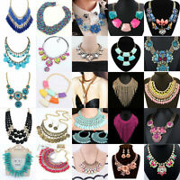 Fashion Jewelry Pendant Chain Crystal Choker Chunky Statement Bib Necklace