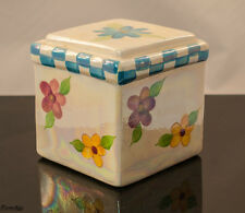 Square Red Blue and Yellow Floral Ceramic Ivory Mother of Pearl Canister