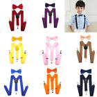 Baby Toddlers Solid Suspender and Bow Tie Set for Kids Boys Girls Adjustable New