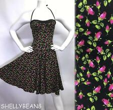 BETSEY JOHNSON ReISSUE PUNK LABEL Rockabilly ROSEBUD Dress XS S 2 4 FULL Skirt!