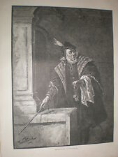 The Major domo by Franz Huard 1885 old print