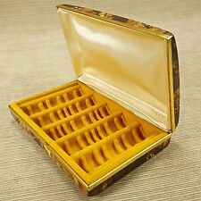 Hard Case Ring Jewelry Box Tortoise Shell Gold Brown Mele Thin Thick Bands Vtg