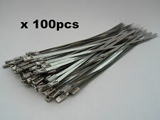 100 x Stainless Steel Metal Cable Ties 200 x 4.6mm Zip Tie Heat Wrap Exhaust