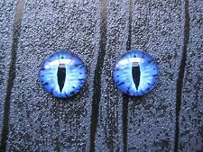 Cobalt Blue DOMED GLASS EVIL CATS EYE Stud 12mm SP Earrings CAT DRAGON HALLOWEEN
