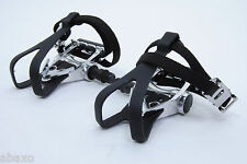 WELLGO ROAD BIKE BICYCLE PEDALS W/CLIPS&STRAPS
