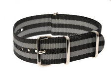 "20mm NATO Nylon Watch Strap by Military Watch Company. ""James Bond"" Black & Grey"