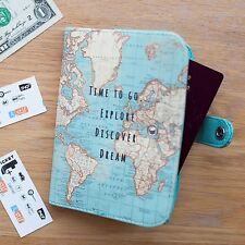 SASS & BELLE VINTAGE TIME TO GO WORLD MAP ATLAS UK PASSPORT COVER HOLDER GIFT