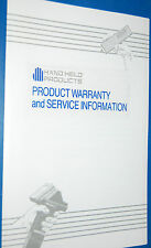Hand Held Products Laser-Wand Systems Product Warranty & Service Data Sheet §