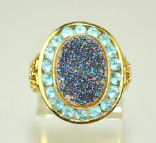 14K YELLOW GOLD SPARKLING BLUE PURPLE DRUZY DRUSY & 18 BLUE TOPAZ RING SIZE 6