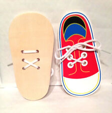 Learn To Tie Laces Early Learning Aid Wooden Lacing Shoe Pre School Play School