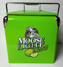 Moosehead Moose Light Lime Metal Beer Cooler With Bottle Opener Green 6 Pack