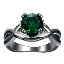 Nice Emerald Gemstone 925 sterling silver Black Gold Filled  Ring M653 Size 8