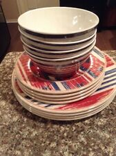 Melamine Dinner Salad Plates Bowls - Heavyweight - Red White Blue- NWT Set Of 12