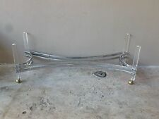 70'S MOD SPACE AGE ELONGATED CHROME AND LUCITE COFFEE TABLE BASE NO GLASS