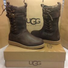 UGG AUSTRALIA AMELIA CHOCOLATE BROWN LEATHER AND LACE BOOT SIZE 7 US