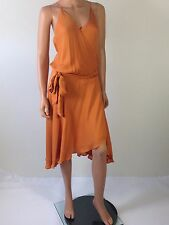 Haute Hippie Peach Spaghetti Straps Drawstring Wrap Dress With Belt