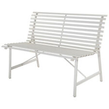 "47"" Garden Bench White Gray Steel Outdoor Backyard Lawn Slat Back Seat Furn"