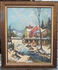 $499 SALE THE BEST WALTER PRANKE CANADIAN QUEBEC WINTER SCENE OIL PAINTING!!