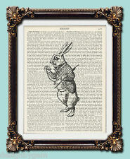 The White Rabbit Alice in Wonderland vintage dictionary art print 1920's 10 x 8