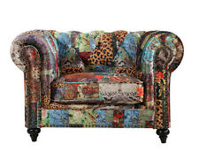 Patchwork Microsuede Chesterfield Arm Chair - BRAND NEW