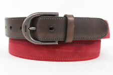 Authentic Coach Men Red Fabric Fashionable Brown Leather Classic Belt Buckle