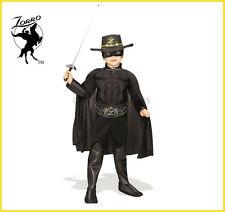 Zorro Boys Dlxe Halloween Costume Muscle Chest Kids Hat Mask Cape Belt Boot Cvr