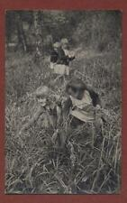 Young girls picking wild flowers woodland sisters   RP pc   L.828