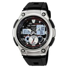 Men's Casio Ana-Digi Forester Fishing Timer Watch with Leather Band - Black (...