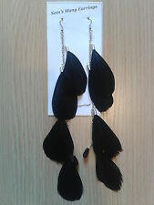 Goose Feather Earrings On Chain In Gold Or Silver 5 Colours Available Hand Made