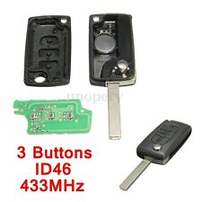 3 Buttons Remote Key 433MHz + Transponder Chip ID46 For PEUGEOT 207 307 308 etc