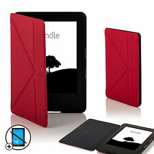 Pelle Rosso Smart Origami Custodia Amazon Kindle 7th Generazione 2014