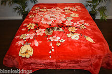 NEW 5 POUNDS SOFT QUEEN KOREAN MINK BLANKET Plush Throw RED FLOWERS FLORAL