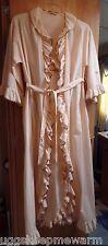 Vintage Diane Von Furstenberg Peignoir Set Long Gown & Robe Ruffle & Satin Trim