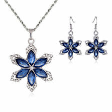 Blue Beautiful Snowflake Rhinestone Women Fashion Pandent Necklace Earrings Sets