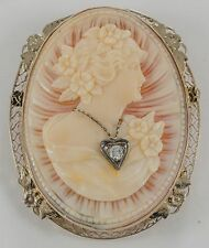 SUPER ANTIQUE SHELL CAMEO BROOCH w DIAMOND NECKLACE 14K WG FILIGREE