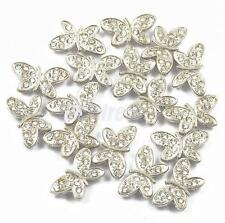 20 RHINESTONE BUTTERFLY SPACER BAR 2 HOLE SPACER BEADS JEWELRY DIY FINDINGS