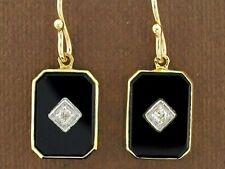 CE434 Genuine 9ct SOLID Gold Natural ONYX & Diamond  Mourning Drop Earrings