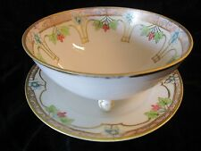 GORGEOUS Nippon Porcelain Mayonnaise Bowl & Underplate Green Mark
