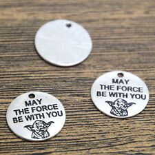 15pcs Star Wars Yoda Charms silver tone May The Force Be With You Pendants 20mm