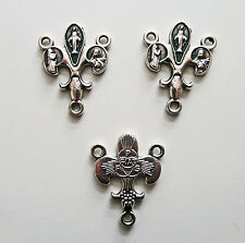 3 Fleur-de-Lis Rosary Centerpiece Mary St Bernadette Therese Jewelery Connector