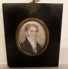 AMERICAN FEDERAL PERIOD PORTRAIT PAINTING ON IVORY FINE ANTIQUE EARLY 1800's