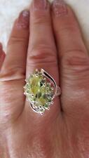 Simulated Lemon Topaz CZ Silver Plated Large Cocktail Dress Ring Size N