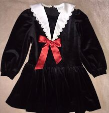 Rare Editions Long Sleeve Holiday Dress Black Velvet White collar 6 EUC Girls