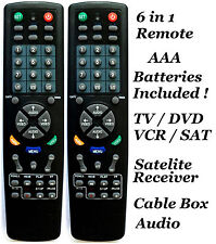 2 x Universal Remote Controller 6 in 1 TV DVD VCR Satellite Receiver Cable Audio
