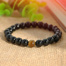 Men Women Black Agate & Yellow Tigers Eye Beads Stone Stretch Bracelet Bangle