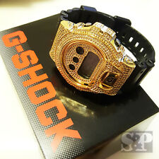 Men Iced Out Authentic DW6900 G Shock Simulated Diamond Gold Brass Custom Watch