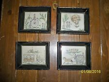 Matching 4 Vintage Antique Hard Wood Deep Shadow Box Picture Frames